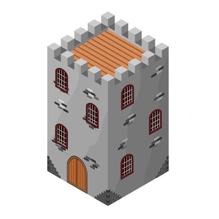 Icono isométrico de la torre medieval o la prisión. Ilustración del vector. Piedra construyó la fortaleza o castillo.