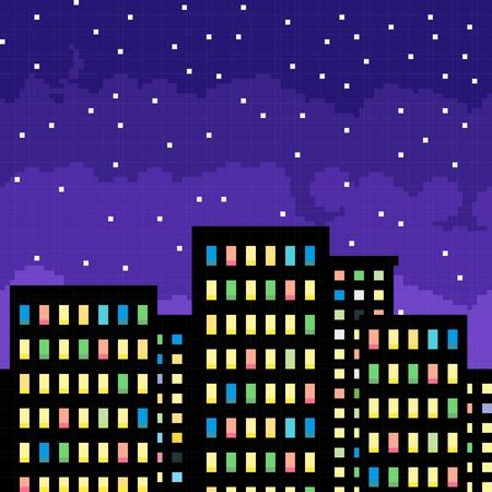 night art: Pixel art cityscape silhouette by starry night. Vector illustration.