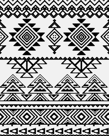 Seamless hand drawn stripes pattern with ethnic and tribal ornament. Vector black and white fashion illustration.
