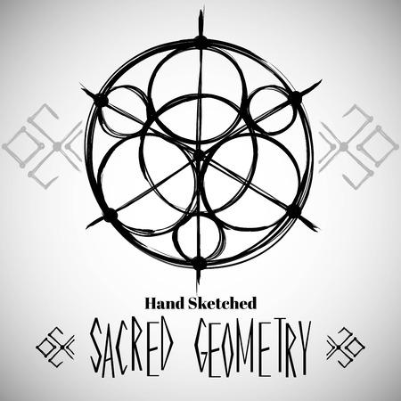 Abstracte achtergrond met de hand getekende heilige geometrie tekening. Tribal stijl. Vector illustratie. Vector Illustratie