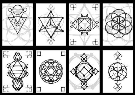 fondo geometrico: Conjunto de tarjetas con la mano abstracta esbozado dibujo de la geometr�a sagrada. estilo tribal. Ilustraci�n del vector.
