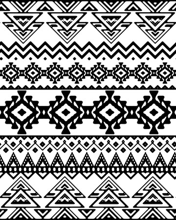 black fabric: Seamless hand drawn chevron pattern with ethnic and tribal ornament. Vector black and white fashion illustration