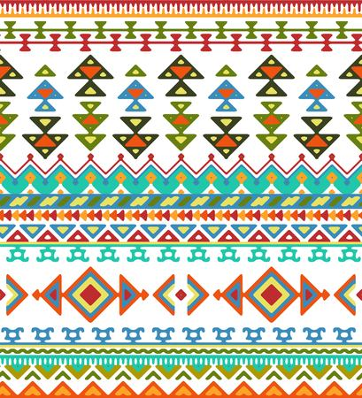 aztec: Seamless hand drawn stripes pattern with aztec ethnic and tribal ornament. Vector bright boho fashion illustration.