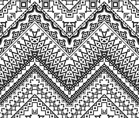 indian traditional: Seamless hand drawn chevron pattern with ethnic and tribal ornament. Vector black and white fashion illustration