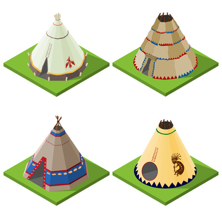 teepee: Set of nice looking bright isometric indian wigwams and tents. Vector illustration.