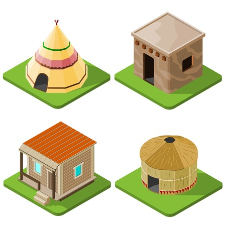 hut: Set of nice looking bright isometric tribal native houses, huts and tents. Vector illustration.