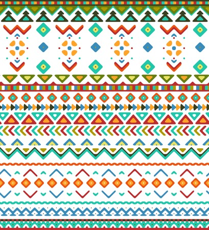 stripes pattern: Seamless hand drawn stripes pattern with aztec ethnic and tribal ornament. Vector bright boho fashion illustration.