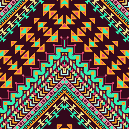bohemian: Seamless hand drawn chevron pattern with aztec ethnic and tribal ornament. Vector dark and bright colors boho fashion illustration.
