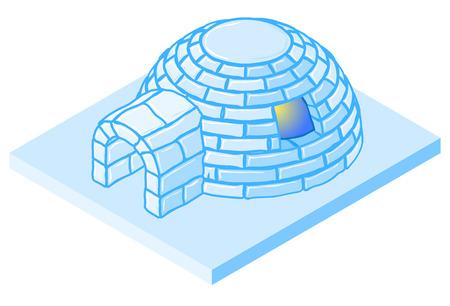 esquimales: Vector de dibujos animados iglú. casa de hielo ilustración isométrica. Vectores