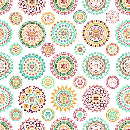 bohemian: Seamless pattern of bright colorful geometric round ethnic decorative elements. Vector mandala background with bohemian, Oriental, Indian, Arabic, Aztec motifs.
