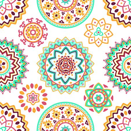 motifs: Seamless pattern of bright colorful geometric round ethnic decorative elements. Vector mandala background with bohemian, Oriental, Indian, Arabic, Aztec motifs.