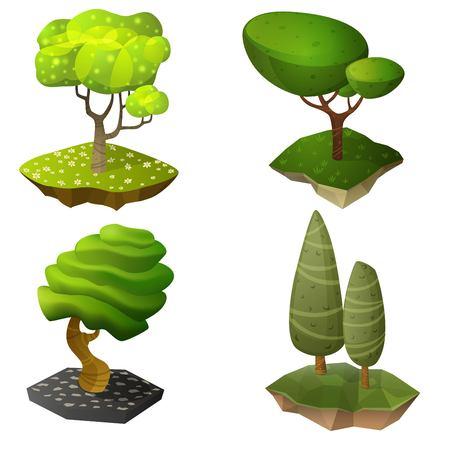 arboles caricatura: Conjunto de árboles de dibujos animados brillante isométrica. Ilustración del vector.