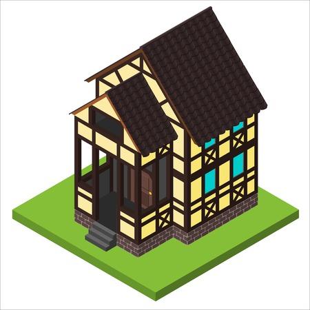 Vector landelijke isometrische huis in vakwerk stijl. Oude Europese gebouw Fachwerk stijl.