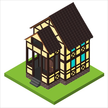 front of house: Vector rural isometric house in timber framing style. Old European fachwerk style building. Illustration