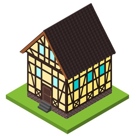 rafter: Vector rural isometric house in timber framing style. Old European fachwerk style building. Illustration