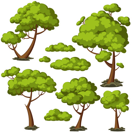 Set of funny cartoon trees and green bushes. Vector illustration.