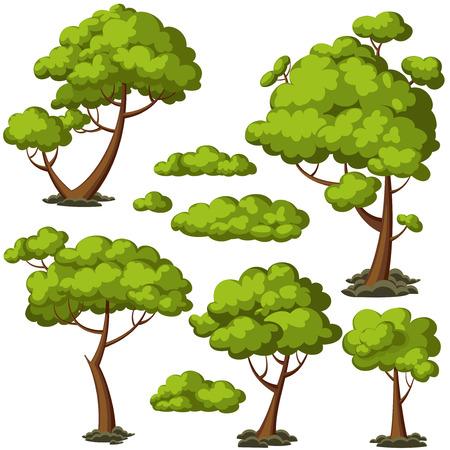 Insieme degli alberi dei cartoni animati divertenti e cespugli verdi. Illustrazione vettoriale.