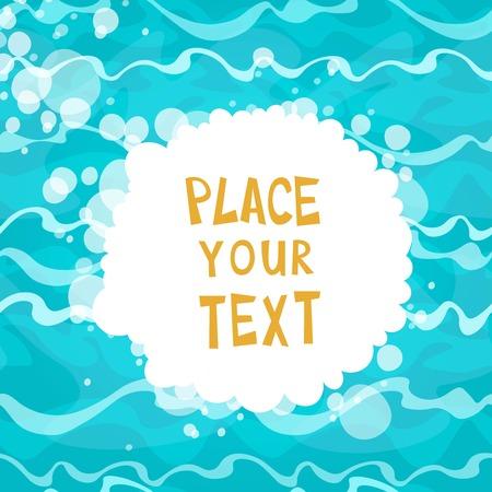 Cartoon plaque sur fond brillant de l'eau bleue avec des vagues. Vector illustration. Vecteurs