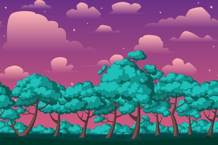 forest landscape: Cartoon nature seamless horizontal landscape with bushes,trees and beautiful evening or night starry sky and clouds. Vector illustration. Parallax background for endless runner games.