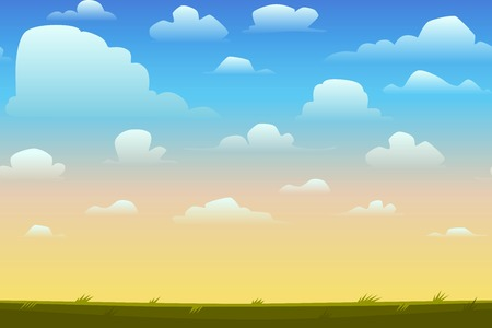 skies: Cartoon nature seamless horizontal landscape with a beautiful evening or morning sunset sky and clouds. Vector illustration.