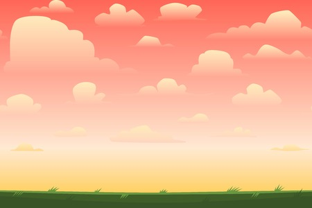 pink sky: Cartoon nature seamless horizontal landscape with a beautiful evening or morning sunset sky and clouds. Vector illustration.