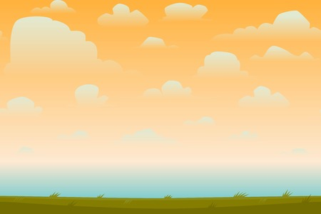 sunset sky: Cartoon nature seamless horizontal landscape with a beautiful evening or morning sunset sky and clouds. Vector illustration.