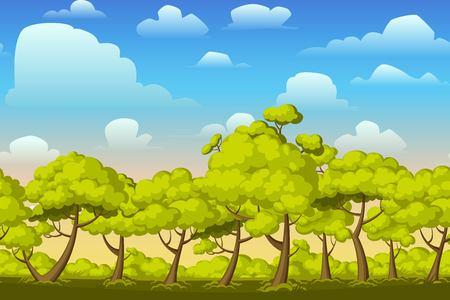 buisson: Cartoon nature paysage horizontal transparente avec des buissons, des arbres et belle soirée ou le matin ciel coucher de soleil et de nuages. Vector illustration. fond Parallax pour les jeux de canaux sans fin.