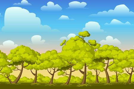 forest landscape: Cartoon nature seamless horizontal landscape with bushes,trees and beautiful evening or morning sunset sky and clouds. Vector illustration. Parallax background for endless runner games. Illustration