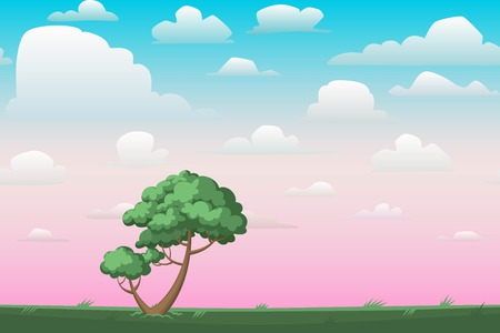pink sky: Cartoon nature seamless horizontal landscape with a tree and beautiful evening or morning sunset sky and clouds. Vector illustration.