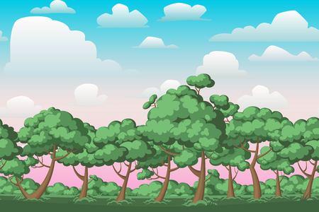 Sunset landscape vector: Cartoon thiên nhiên liền mạch ngang cảnh quan với bụi rậm, cây cối và buổi tối trời mát mẻ vào buổi tối hay những đám mây hoàng hôn. Vector minh hoạ. Parallax nền cho các trò chơi chạy vô tận.
