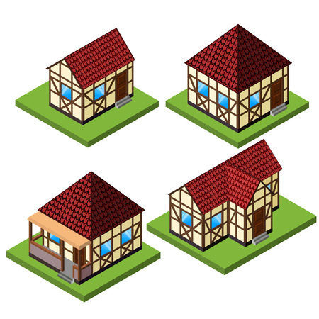 rafter: Vector rural isometric house collection in timber framing style. Old European fachwerk style buildings.