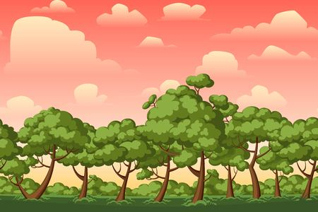 natural backgrounds: Cartoon nature seamless horizontal landscape with bushes,trees and beautiful evening or morning sunset sky and clouds. Vector illustration. Parallax background for endless runner games. Illustration