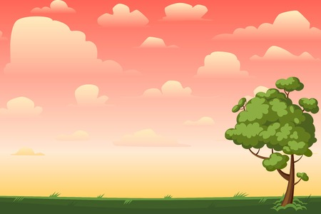 2d wallpaper: Cartoon nature seamless horizontal landscape with a tree and beautiful evening or morning sunset sky and clouds. Vector illustration.