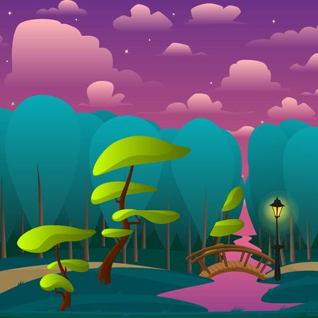 2d wallpaper: Vector landscape of night park with trees, little bridge over river and lamp. Vector illustration in cartoon style.