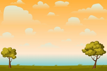 natural backgrounds: Cartoon nature seamless horizontal landscape with a tree and beautiful evening or morning sunset sky and clouds. Vector illustration.