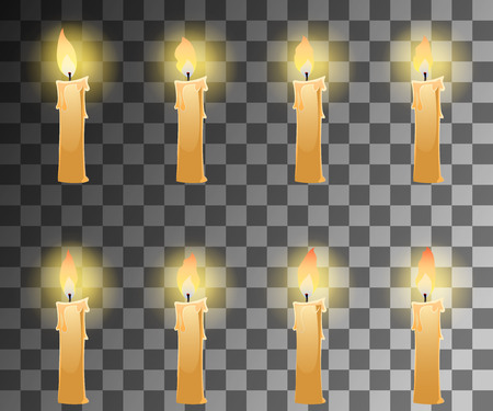 open flame: Cartoon candle with fire animation on transparent background with dancing halo. Vector illustration for 2d games. Illustration