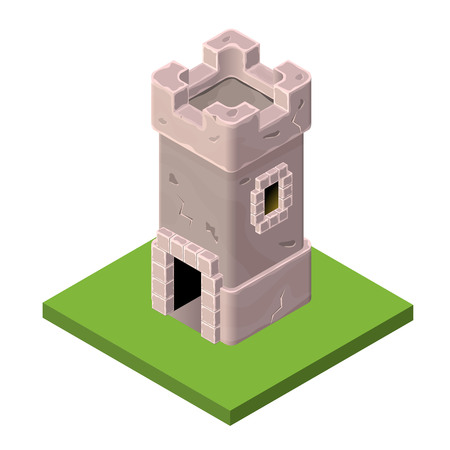 fortified: Isometric icon of medieval tower or prison. Vector illustration. Stone built fort or castle.