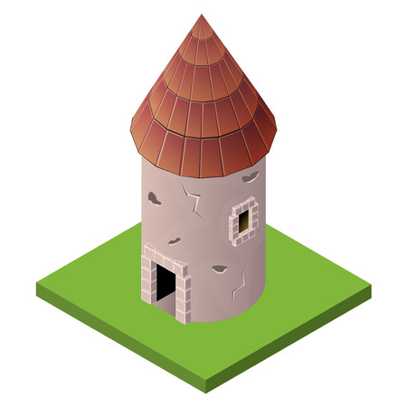 fortified: Isometric icon of medieval tower. Vector illustration. Stone built fort or castle.