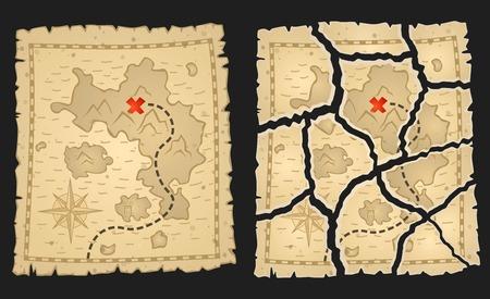 Schatz Piraten Karte im Alter Pergament. Vektor-Illustration. Ganze und zerrissene Varianten für Spiel von Aufgaben.