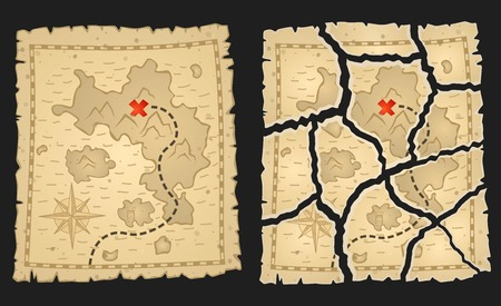 Treasure pirates map on aged parchment. Vector illustration. Whole and torn variants for game quests. 矢量图像