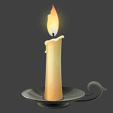 sign holder: Burning candle in black metal candle holder. Vector illustration.