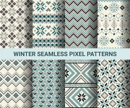 isle: Collection of pixel retro seamless patterns with stylized winter Nordic ornament. Vector illustration.