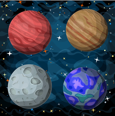 cosmos: Set of cosmic planets in outer space. Vector cartoon style illustration.