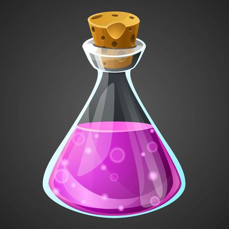 vial: Vector cartoon potion bottle. Vial with purple liquid for game icons. GUI asset.