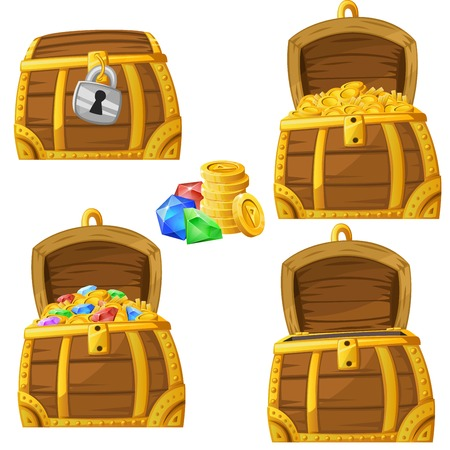 Illustration of cartoon chest locked, open and full of gold and jewels. Vector 2d asset for games. Vettoriali