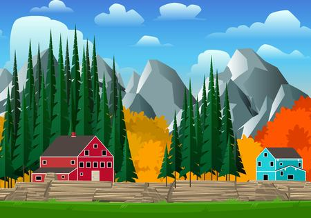 alps: Mountain and forest landscape with bright canadian style houses. Vector illustration.