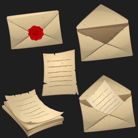 correspondencia: Conjunto de hojas de papel y sobres en estilo de dibujos animados. Iconos del juego, conjunto de objetos vectoriales.