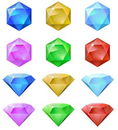 gemstones: Set of colorful gemstones. 2d cristal asset for games collection. Vector illustration.