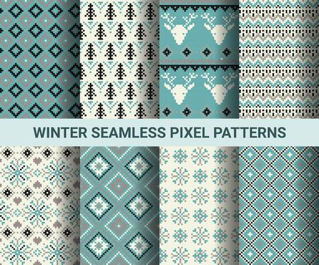 Collection of pixel retro seamless patterns with stylized winter Nordic ornament. Vector illustration.