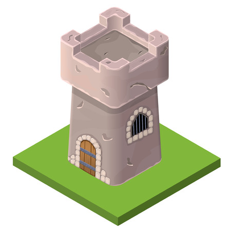 fortification: Isometric icon of medieval tower or prison. Vector illustration. Stone built fort or castle.